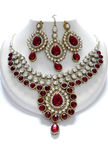 Maroon Kundan Necklace