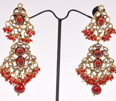 Red Kundan Earrings