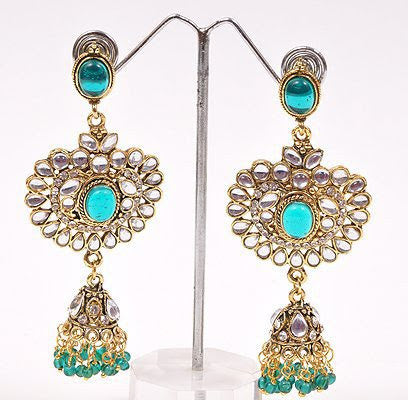 Green Kundan Earrings.