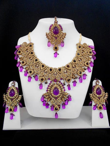 Purple Bridal Necklace Set