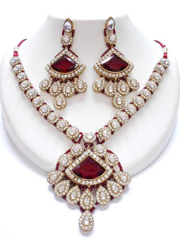 Maroon Stone Kundan Necklace Set