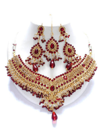 Maroon Necklace and Tikka set