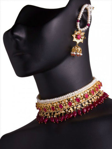 Maroon Tone Indian Necklace Set