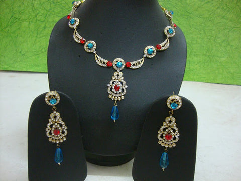 Blue & Red Victorian Necklace
