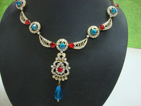 Victorian Top Quality Indian Necklace Set Gold with Blue & Red Stones