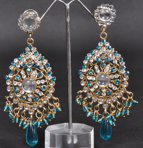 Oval Blue Crystals Jhumki Earrings