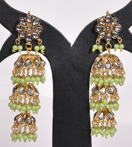 Green Beads Layered Jhumki Earrings
