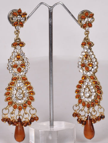 Orange Crystals Chandelier Jhumki Earrings
