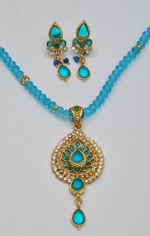 Elegant Blue Bead Necklace Set