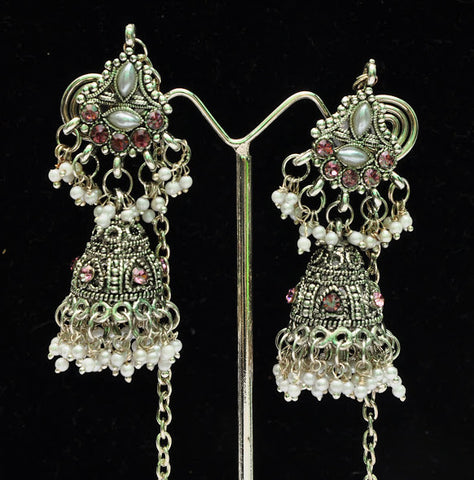 Silver Chandelier Jhumka Earrings