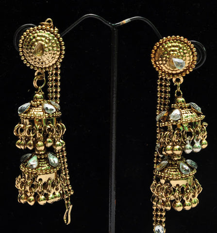 Crystal Gold Plated Jhumka Earrings