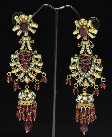 Deep Red Stone Jhumka Earrings