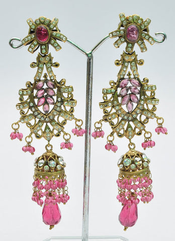 Attractive Purple Crystal Jhumka Earrings
