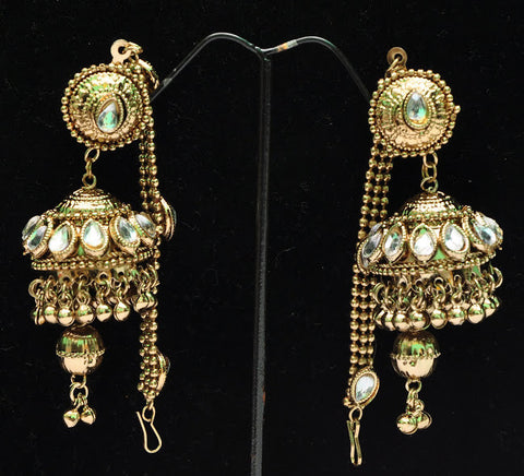 Fancy Light Weight Gold Plated Jhumka Indian Earrings