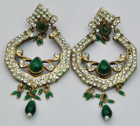 Green Emeralds Diamond Earrings
