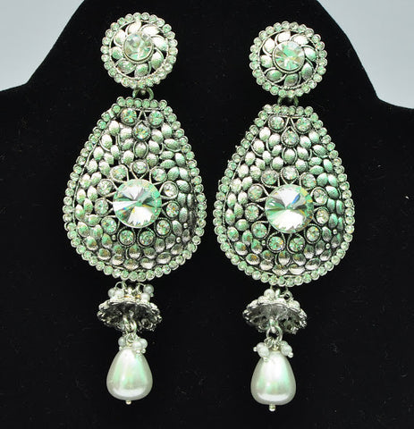 Silver Finish Jhumki Earrings
