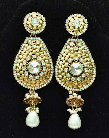 White Pearl Oval Jhumka Earrings