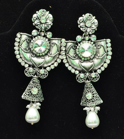 Silver Color Jhumki Earrings