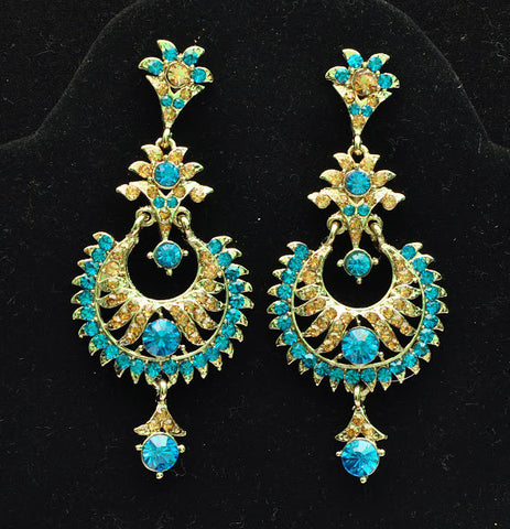 Ethnic Blue Stone Jhumki Earrings