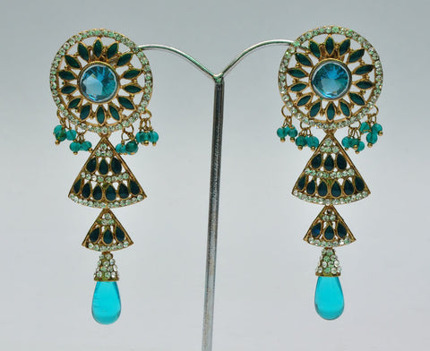 Multi Layer Blue Jhumka Earrings