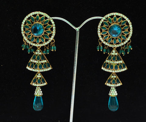 Green & Blue Jhumki Earrings