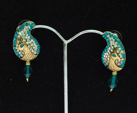 Baby Blue Peacock Earrings