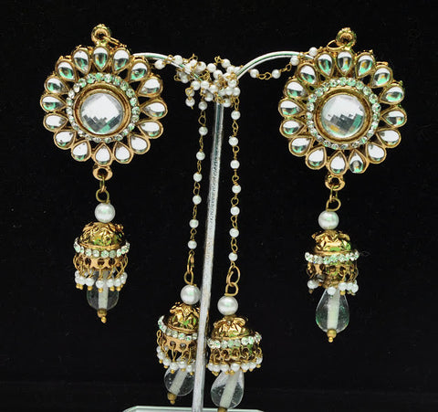 Round White Pearl Jhumka Earrings