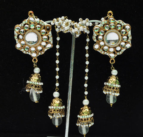 White Pearla Gold Jhumka Earrings