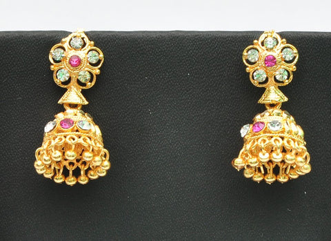 Gold Crown Jhumka Earrings