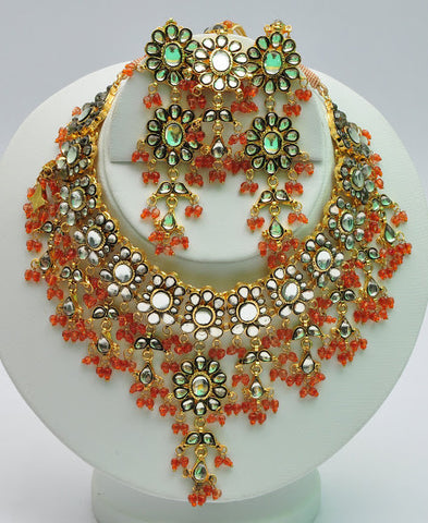 Gold Plated Kundan Necklace Set with matching Earrings