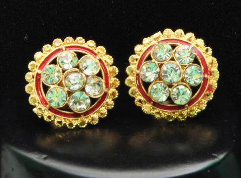 Red Gold Stud Diamond Earrings