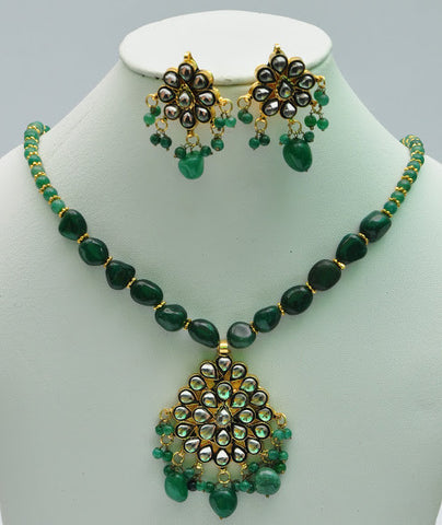 Green Emerald Necklace Set with Matching Earrings Kundan work