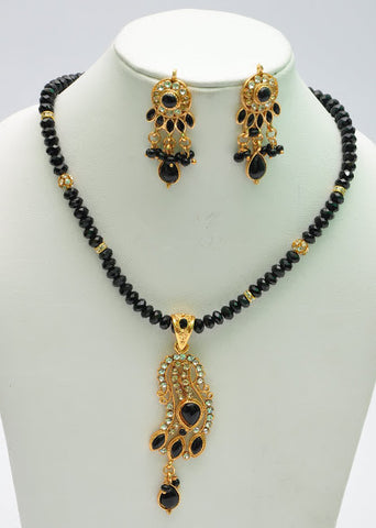Black Bead & Pearl Necklace