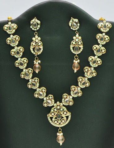 Victorian Style Indian Necklace Set with Matching Earrings in Orange Gold