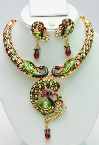 Colorful Green Peacock Necklace