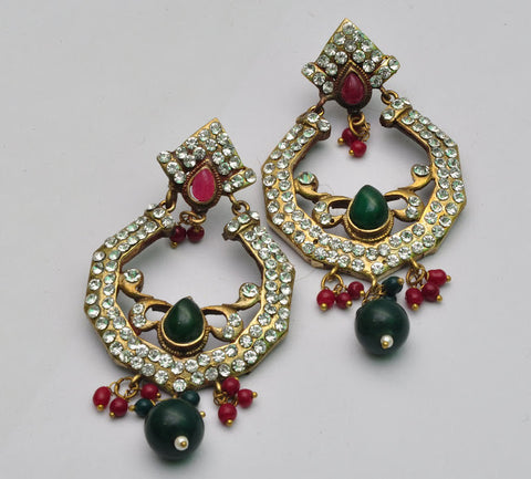 Diamond & Emerald Jhumka Earrings