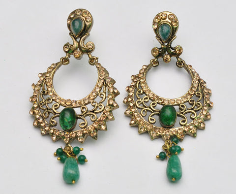 Green Emerald Bollywood Earrings