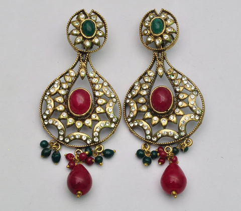 Red & Green Ethnic Earrings