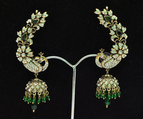 Green Peacock Jhumka Earrings India Bollywood Style in Victorian Finish