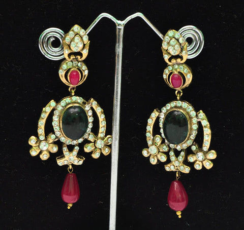 Victorian Style Indian Bollywood Earrings Ruby Stone work