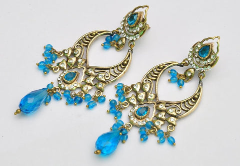 Light Blue Indian Jhumka Earrings