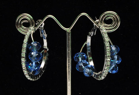 Round Blue Stone Indian Earrings