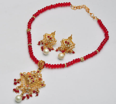 Light Red Beaded Necklace Set