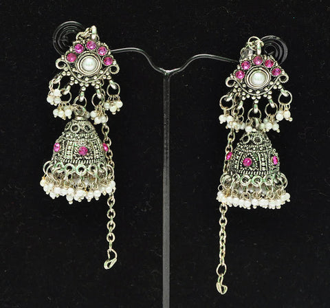 Purple Stone Indian Jhumka Earrings