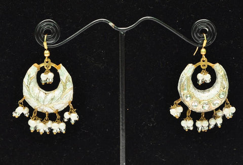 White Gold Indian Jhumka Earrings