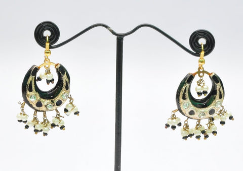 Black & White Indian Jhumka Earrings