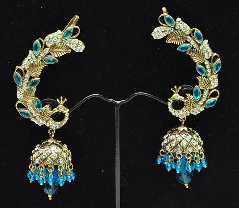 Baby Blue Peacock Jhumki Earrings
