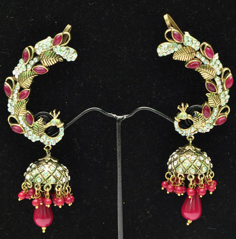 Maroon Peacock Jhumki Earrings
