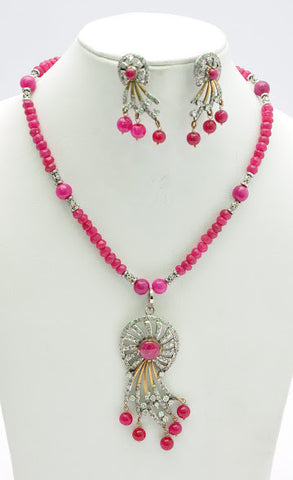 Unique Pink Beaded Necklace