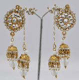 Gold Plated White Jhumki Earrings
